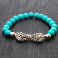 Turquoise 8MM Round Beads Stretch Gemstone Bracelet with Diamante Piece