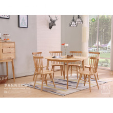 Mesa redonda de madeira maciça de cinza claro para 4