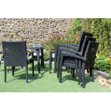Neueste Patio Garten Ess-Set Poly Rattan Wicker Möbel mit stapelbaren Stühlen