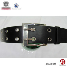 lady's fashion black leather belt with double pin buckle