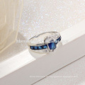 Großhandel 2017 Sommer Kollektion Reine 925 Sterling Silber Ringe Blau Stein Sapphire Fingerring Frauen Edlen Schmuck