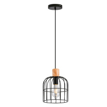 Lampe à suspension moderne en fer noir mat, cage de fer