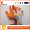 Guantes de seguridad de nylon blanco, guantes de látex naranja (DNL212)