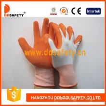 Gants de sécurité en nylon blanc, gants de gants en latex orange (DNL212)