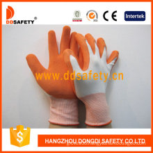 13 Gauge White Nylon Liner Orange Latex Coating Foam Finish Working Safety Gloves (DNL212) CE
