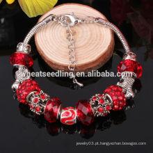 Bead pulseira pulseira por atacado china love charm 2014 popular prata handmade vidro pulseira bead encanto para presente de Natal