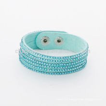 Fashion Adjustable Button Mix-color Crystal Wrap Rhinestone Bracelets BCR-022-1