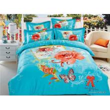 Mariposa y flores azul diseño 100% algodón sábanas conjunto de ropa de cama fabricantes en China