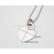 Glänzendes hochpoliertes Finish Silber Herzcharme Halsketten für Frauen