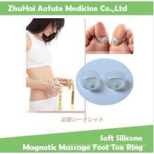 Anillo de dedo del pie de masaje magnético de silicona suave mantener anillo Slimmming