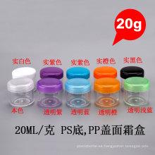 20g ronda reciclado PP PS cosmético muestra vacía tornillo tapa crema tarro