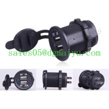 Tomada dupla do adaptador do carregador do diodo emissor de luz do carro 12V / 24V USB da motocicleta