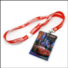 Logo personnalisé Badge en plastique Insigne de carte d'identité de bobine avec lanière (NLC025)