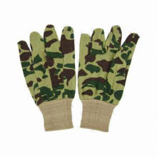 Working gloves, camouflage-colored jersey material, knitted wrist
