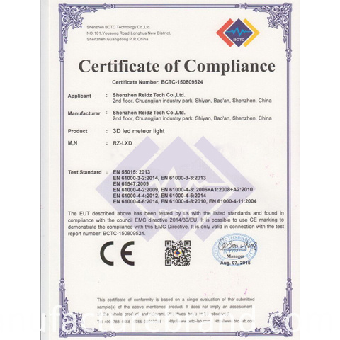 3D led meteor ce certificated