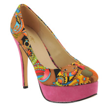 New Sales African Printed Fabric High Heel Ladies Dress Shoes (HCY02-1396-2)