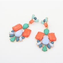 Latest style hot sale elegant resin stone flower shape design gold or black color alloy long drop earrings for women