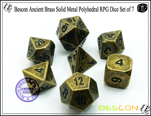 Bescon Ancient Brass Solid Metal Polyhedral RPG Dice Set of 7-2