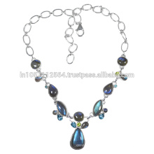 Labradorite Blue Topaz & Peridot with 925 Sterling Silver Strand Necklace for Gift