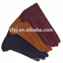 2016 Girl's fashion dress sheep suede leather gloves facory in hebei