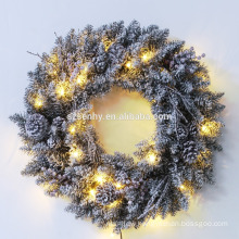 "24"" PVC Christmas Snowy Wreath With Lights"