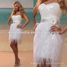 Short cocktail bretelles sweetheart décolleté courte plume jupe robe de mariée