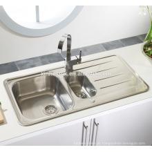 Dissipador da cozinha de Topmount do aço inoxidável da bacia do inserir 1.5 com escorredor