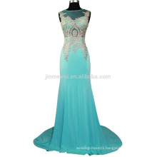 Gorgeous Appliqued Mermaid Evening Dresses Long 2016 Fast Shipping Scoop Sheer Neck Beaded Chiffon Sweep Train Prom Dresses