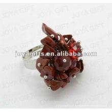 Enrole anéis com pedras de pedra vermelha Pedra