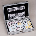 Plastic Domino Blocks Double 6 dominoes in Aluminum Case