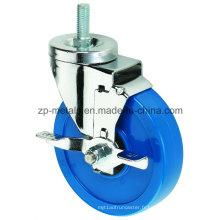 Roues de roulette bleues de PVC de fil bleu de Biaxial de taille moyenne de 3 pouces avec le frein latéral