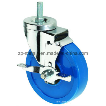 O rodízio azul feito sob medida médio do PVC da linha de 3inch rodou com freio lateral