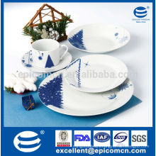 blue and white color round porcelain christmas set for dinner