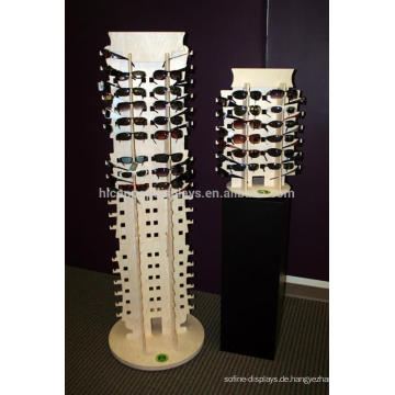 Free Design Gläser Retail Store Boden Standing Rotating Wooden Showroom Sonnenbrille Display Rack