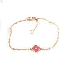 Валентина подарок розовое золото IP покрытием циркон повезло четыре листа клевера браслеты