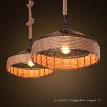 American Style Retro Hemp Rope Pendant Light E27 Vintage Edison Lamp