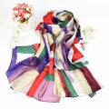 Роскошный Стиль 2016 женский красочные нерегулярные Геометрия печатных Шелковый шарф