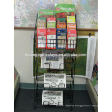 Freestanding Map Book Holder Newspaper Display Rack, Retail Store Unit Black Metal Magazine Shelf
