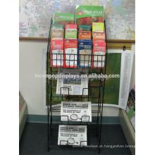 Suporte de livro de mapa autônomo Suporte de jornal, Unidade de loja de varejo Black Metal Magazine Shelf