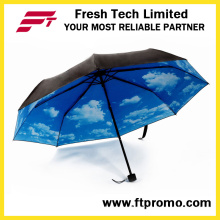 Abra o guarda-chuva de dobramento do manual do OEM com logotipo