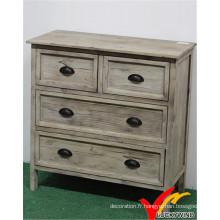 Cabinet en bois massif vintage avec effet affligé blanc