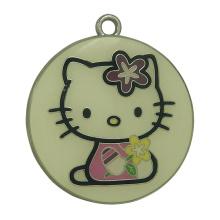 Benutzerdefinierte gestempelt Runde Kitty Cat Metall Hang Tags