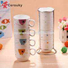 Tasse à café en céramique blanche personnalisée à la main