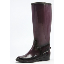 Black And Dark Purple Women Riding Rubber Boots