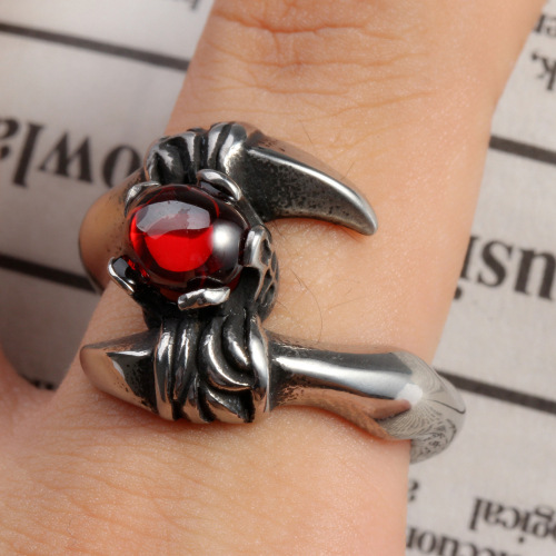 Mens Red Garnet Metal Stainless Steel Scorpion Ring