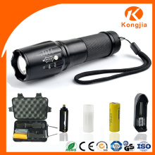 Design Color Aluminium Alloy Zoomable Rechargeable Tactical LED Flashlight