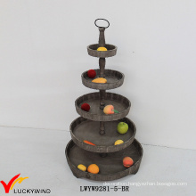 5 Tier Decorative Brown Wooden Round Tray Stand