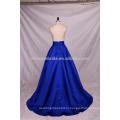 2016 мода Королевский синий бисером и блестками Длина пола атласная Пром платье