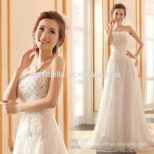 A-Line Silueta y sin mangas de vestidos de novia de diseño