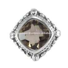 Neueste Design Smoky Quartz Edelstein 925 Solid Silber Ring